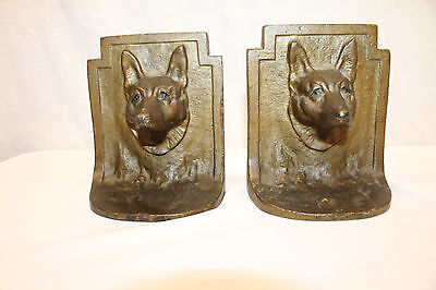 Antique Turn of the 19th C. Bronze Wolves Face Bookends Door Stops