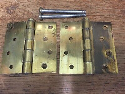 Lot 2 Vintage Large Heavy Brass Hinges - Door Or Cabinet - Heavy Duty With Pins