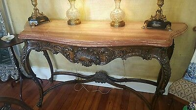 """Antique  CARVED WALNUT MARBLE TOP CONSOLE TABLE  69"""""""