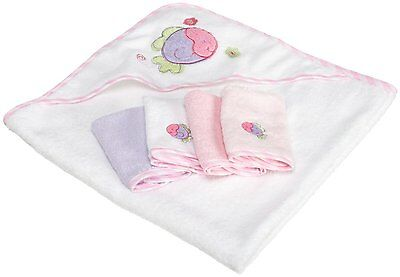 Spasilk 100% Cotton Hooded Terry Bath Towel with 4 Washcloths, Pink #2