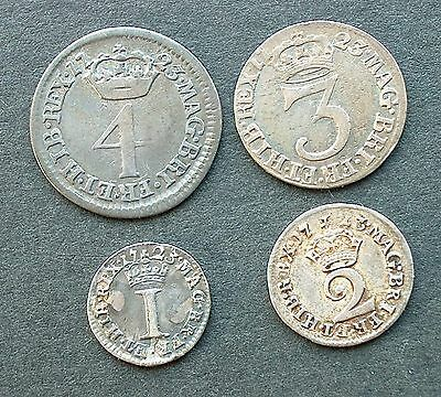 British - 1723  George I  Four coin Silver Maundy set