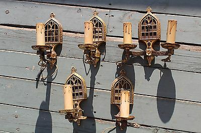 Rare Group Of 5 Gothic Wall Sconce Light Fixture  , Art & Craft Hamered Brass