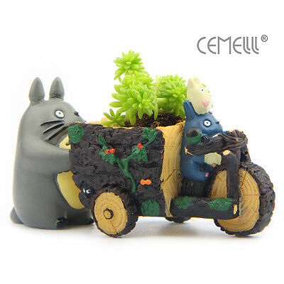 Vivid My Neighbor Totoro Pedicab Resin Figure Succulent Plant Flower Pot Planter