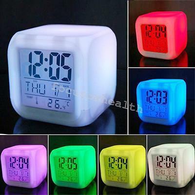Digital Alarm Thermometer Night Glowing Cube Clock LED Change 7 Colors changing
