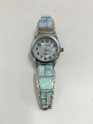 Native American Sterling Silver Navajo White Opal Stone Inlay Ladies Watch