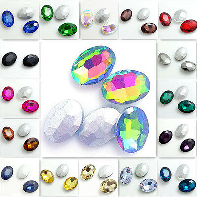 Hot 15pcs Faceted Crystal Glass rhinestones Silver Bottom oval beads DIY 10x14mm