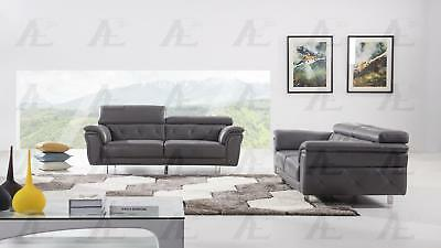 Superb Dark Gray Top Grain Italian Leather Sofa Loveseat 2Pcs Alphanode Cool Chair Designs And Ideas Alphanodeonline