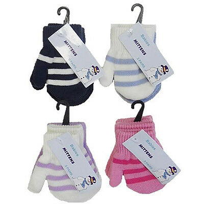 Baby Striped Magic Mittens Gloves Babies Boys Girls  Winter Warm X 2 Pack Pairs