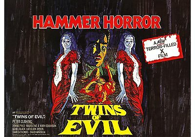 Twins of Evil - Peter Cushing - Collinson Twins - A4 Laminated Mini Poster