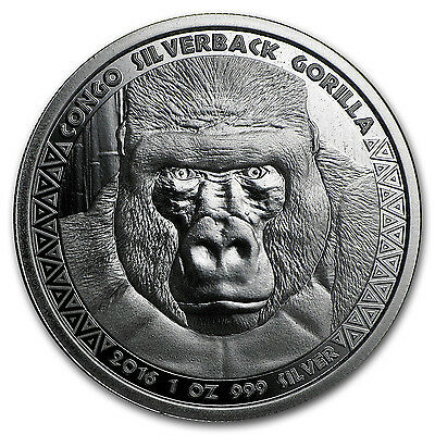 2016 Republic of Congo Silver 1 oz Silverback Gorilla (Prooflike) - SKU #98935