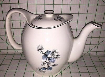 Vintage Preview By Paden Teapot Blue Pine Cone Mid Century China Christmas