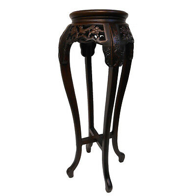 """28"""" or 36""""h. Hand Carved Solid Rosewood Marble Top Oriental Flower Stand"""