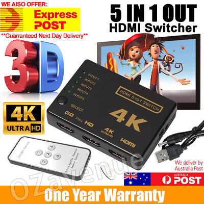 5 Way 4K Ultra HD HDMI Switch Splitter HDTV Auto 5 Port IN 1 OUT Remote Control