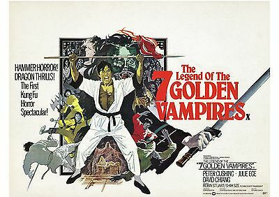 The Legend of the 7 Golden Vampires - Peter Cushing - A4 Laminated Mini Poster