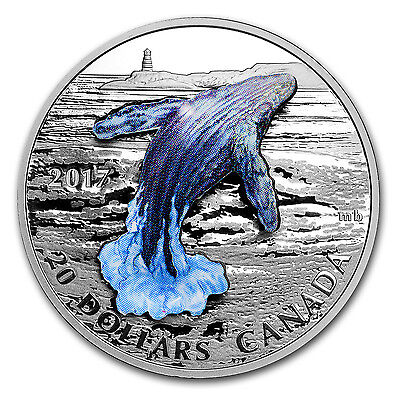 2017 1 oz Silver Proof $20 3-Dimensional Breaching Whale - SKU #105241