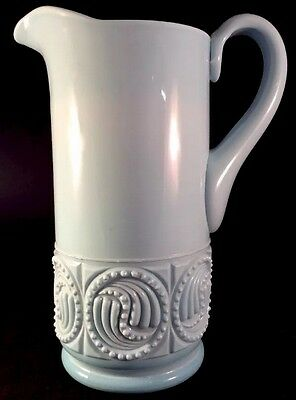 Beaded Circle Tankard Blue Milk Opaque Pattern Glass Challinor 1885 Pitcher EAPG