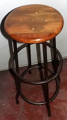 Stool Vintage wood di teak e iron da 80h drafting machine seat 29 70's