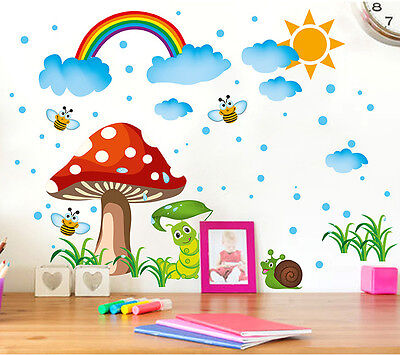 Cute Mushroom House Rainbow Sky Wall Sticker Decal for Nursery Baby Room Decor