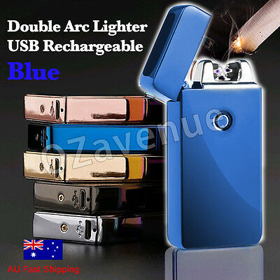 AU Electric Plasma Double Arc Lighter Windproof Flameless USB Rechargeable blue