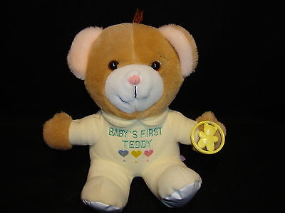 Dakin BABY'S FIRST TEDDY BEAR Brown Plush Stuffed Pajamas Exc. Condition 1985