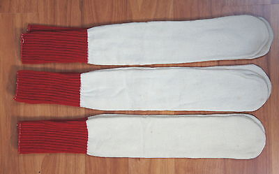 (3) Pair Vintage 1960's ? Red Top Tube Socks Gym Athletic Deadstock