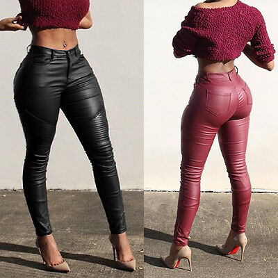 Sexy Womens Leather Skinny High Waist Leggings Stretchy Pencil Pants Trousers