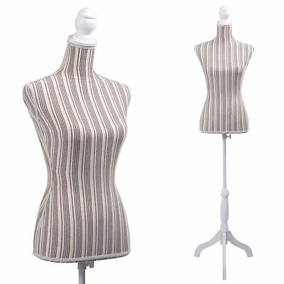 Female Mannequin Torso Clothing Display S/ Stripe Tripod Stand New Stripe