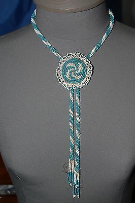 Vintage Native American Beaded Bolo Tie Or Necklace Snake River Drainage
