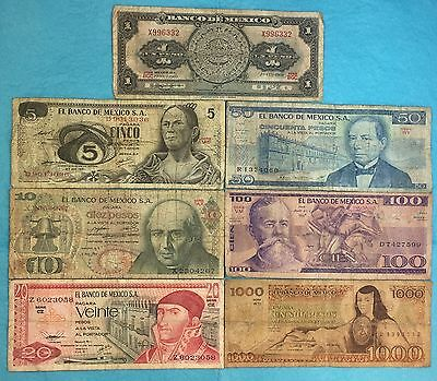 MEXICO SET LOT 7 BANKNOTES CIRCULATED 1970'S 1980'S 1 5 10 20 50 100 1000 pesos