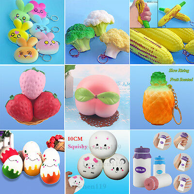 New Squishy Fruit Peach Vegetable Slow Rising Cream Scented Soft Crafts Straps