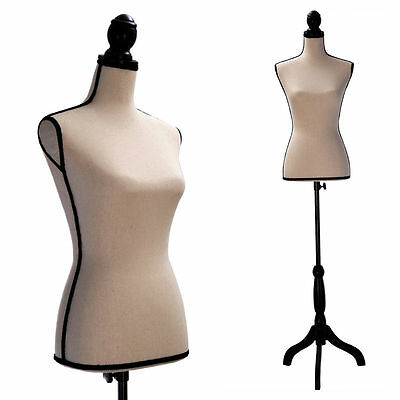 Female Mannequin Torso Clothing Dress Form Display Black Tripod Stand New Tan
