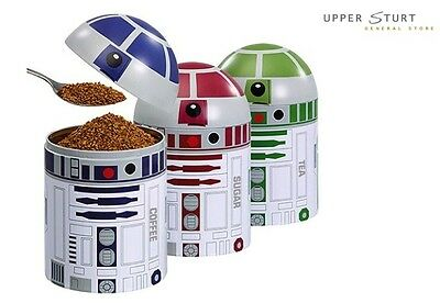 Star Wars R2-D2 Droid Design Set of 3 Kitchen 17cm Tin Containers FREE DELIVERY