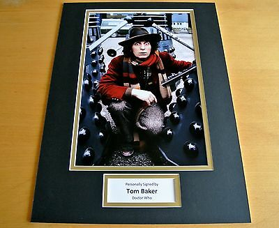 TOM BAKER SIGNED AUTOGRAPH 16x12 PHOTO MOUNT DISPLAY DOCTOR DR WHO DALEKS & COA