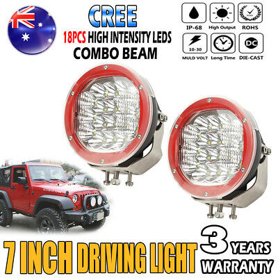 2x 7Inch 3600W CREE LED Driving Light Spot Flood Offroad Work Lamp Replace HID