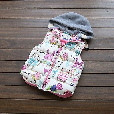 Baby Kid Infant Girl Hooded Winter Warm Vest Waistcoat Coat Jacket Thick Clothes