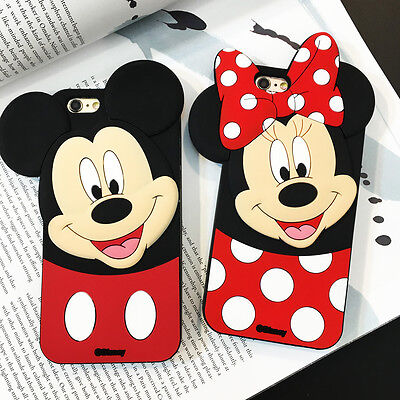 Cute 3D Cartoon Mouse Dot Soft Silicone Rubber Case Cover for iPhone & Samsung