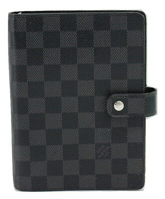 Auth Louis Vuitton Damier Black Agenda MM Day Planner Cover R20242