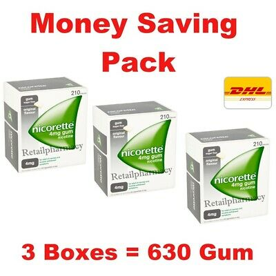 3 Pack Of Nicorette Original Flavour Sugar-Free Gum 4mg Nicotine 210 Pieces