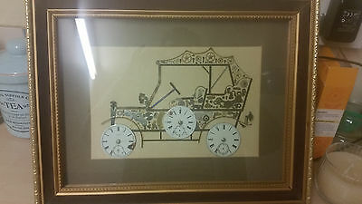 Hand Made Car Picture made out of Clock Parts