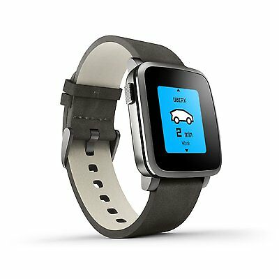 Pebble Time Steel Smart Watch Smartwatch schwarz