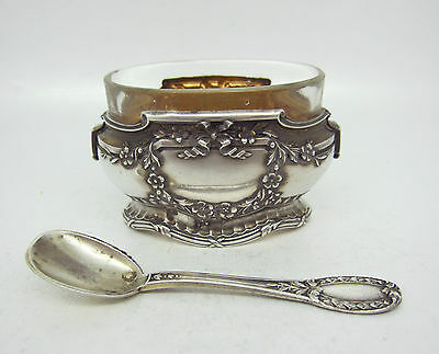 ANTIQUE FRENCH SILVER SALT SELLAR with SPOON