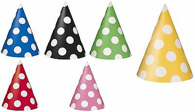 Pack of 8 Polka Dots Paper Party Hats