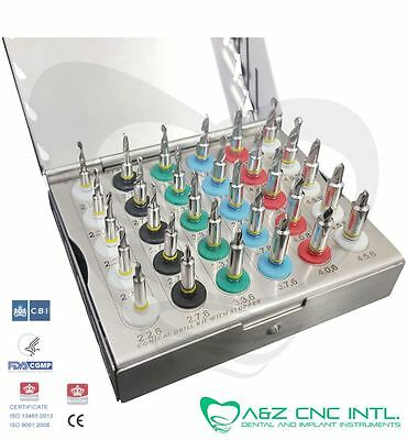 Dental Implant Conical Drills Kit with Stopper Set of 30 PCs,