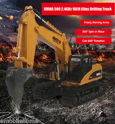 HUINA 560 1:12 2.4GHz 16CH RC Alloy Drilling Truck RTR with Arms Demonstration