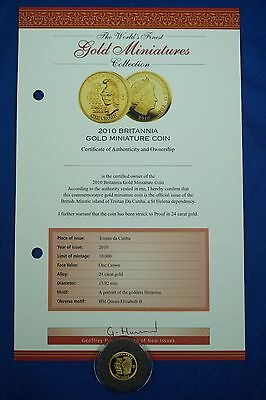 *c 2010 Miniature 24Ct Solid Gold Britannia One Crown Coin Set With Certificate