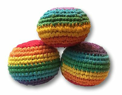 New 3x Hacky Sack Kick up Ball Pin Cushion Stress Juggling Set Child Fair Trade