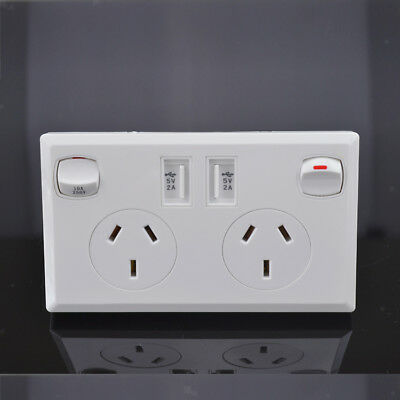 Dual USB Australian Power Point AU Home Wall Power Supply Socket with Switch