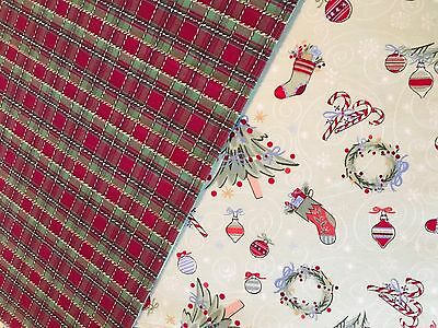 Longaberger Set of 2 Reversible Placemats - Holiday Plaid/All The Trimmings