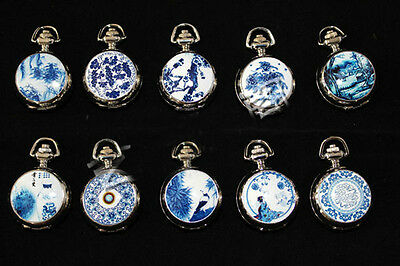 Wholesale6pcs Chinese Vintage Blue and white porcelain Necklace pocket watch