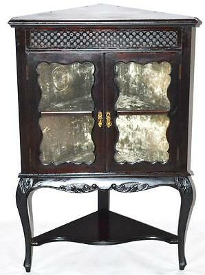 Antique Victorian Carved Ebonized Corner Display Cabinet [PN80]